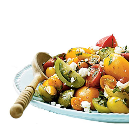 Heirloom Tomato Salad with Oranges, Goat Feta, Olives and Tarragon